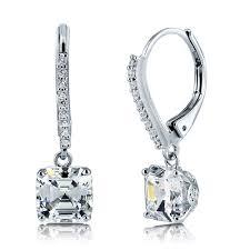 leverback earrings sterling silver cubic zirconia cz leverback dangle earrings e759