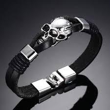 skull bracelet leather images Men 39 s black leather skull bracelet jpg