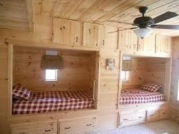 Plans For Building Log Bunk B by Built In Bunk Beds For Cabin Great 3rd Bedroom With Two Twin