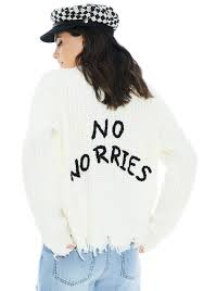 knit oversize slouchy text sweater white dolls kill