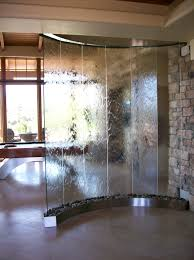 lovely room divider idea with waterfall glass design also frosted