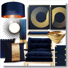 Blue And Gold Home Decor Blue Gold Modern Polyvore