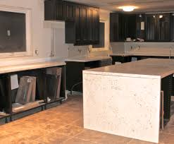 Kitchen Island Countertop Overhang Faux White Quartz Countertop With Waterfall Overhang Www