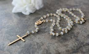 white rosary moonstone rosary necklace white gemstone rosary style 14k gold