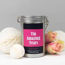 10 anniversary gift personalised 10th anniversary tea gift tin by novello