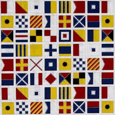 kaufman down by the sea flags white discount designer fabric
