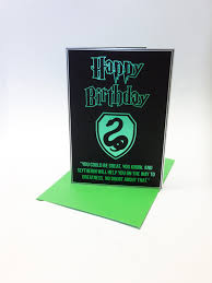 harry potter inspired birthday card with a stylised slytherin