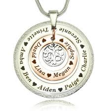 personalised necklaces personalised jewellery sparkling circles of loved ones tree