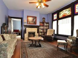 Craftsman Ceiling Fan by Craftsman Living Room With Hardwood Floors U0026 Stained Glass Window
