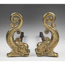 pair of late 19th c brass dolphin andirons from piatik on ruby lane