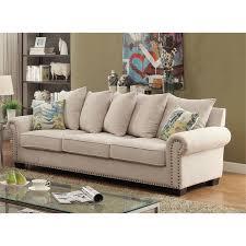 furniture of america belinda fabric sofa in ivory idf 6155 sf