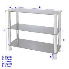 3 Tier Shelving Unit by 3 Tier Glass Shelf Unit Office Bedroom Lounge Hallway Storage