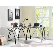 l shaped desk glass ameriwood furniture lacklan glass top l desk black