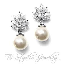 rhinestone earrings simple and classic cz pearl and rhinestone bridal earrings wedding