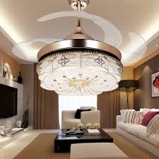 Livingroom Lighting Colorled Invisible Ceiling Fans Living Room Remote Control Fan