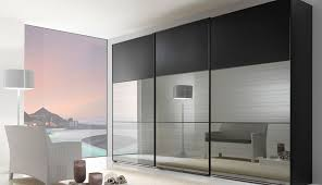 modern mirror sliding wardrobe closet door with three hidden