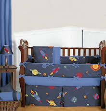 Space Themed Bedding Outer Space Bedding For A Baby Rocket Ship Nursery Theme