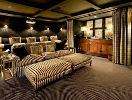 cool modern entertainment room with arranged striped sofas set