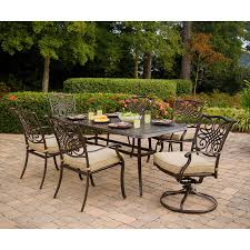 Outdoor Metal Dining Chairs Traditions 7 Piece Dining Set W Umbrella Traditions7pcsw Su