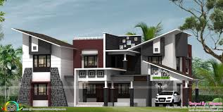super contemporary slanting roof residence kerala home design