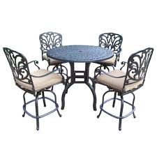 Oakland Living Mississippi Cast Aluminum Oakland Living Aluminum 5 Piece Round Patio Bar Height Dining Set
