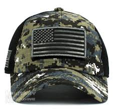 American Flag Camo Hat Usa Flag Hat Black Digital Patch Micro Mesh Tactical Operator