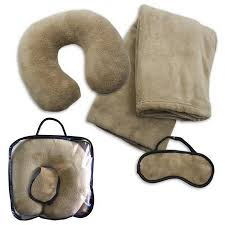 Fleece travel set blanket neck pillow eye mask