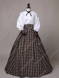 Victorian Dress Halloween Costume Country Plaid Victorian Dress West Gown Reenactment Halloween