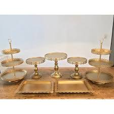 gold cake stands gold cake stand set enchanted party hire