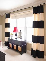 black and cream striped patterned window curtain panel combined