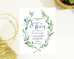 wedding invitations greenery blush floral wedding invitation set green leaves wreath