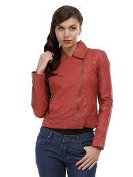 the vanca women red leather jacket by myntra com fashion bazinga