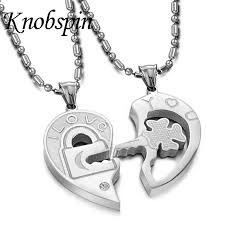 heart key lock necklace images Lock key matching set necklace 316l stainless steel couple jpg