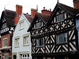 british tudor houses with black wood beams stock photo picture