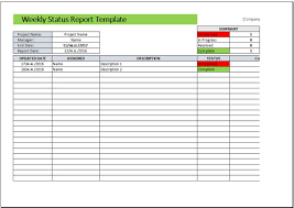 Project Weekly Status Report Template Excel Report Template