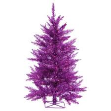 2ft pre lit purple artificial tree metal tree stand and