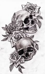 girly sugar skull and roses tattoo flash in 2017 real photo
