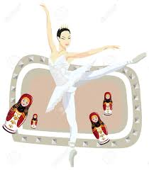 frame illustration with russian ballerina and russian dolls