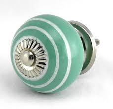 teal white stripe onion ceramic cabinet door knob set 2pc k114