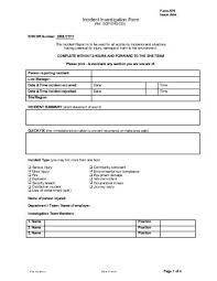 Incident Investigation Report Template by Incident Investigation Form Template Workplace Investigation