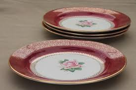 vintage homer laughlin china cake plates w pink roses wine