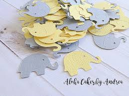 neutral baby shower decorations elephant confetti yellow and gray baby shower