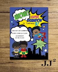 Superhero Invitation Card Superhero African American Invitation Batman Robin Superman