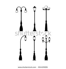 vintage streetlights black silhouettes set vector stock vector
