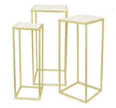 set of three end tables set gold framed white marble end tables