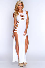 sexi maxi dresses white strappy cut out slit maxi dress
