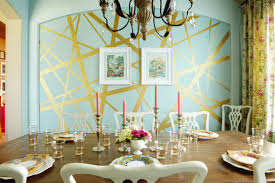 contemporary dining room interior in aesthetic painted wall