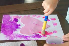 heart art painting activity for kids easy fun art craft for kids