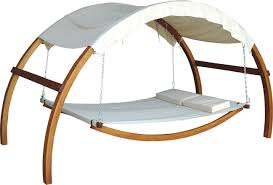 Swing Bed With Canopy Outdoor Hanging Bed Swing Canopy Bed Wooden Frame Metal Chains