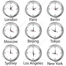 timezone clock clocks showing the time around the world stock